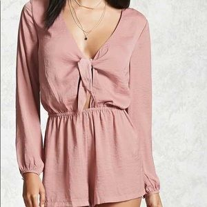 Long Sleeve Silky Romper With Tie <3